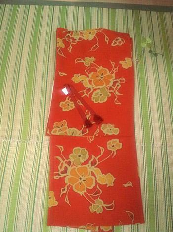 オレンジ花柄羽織
